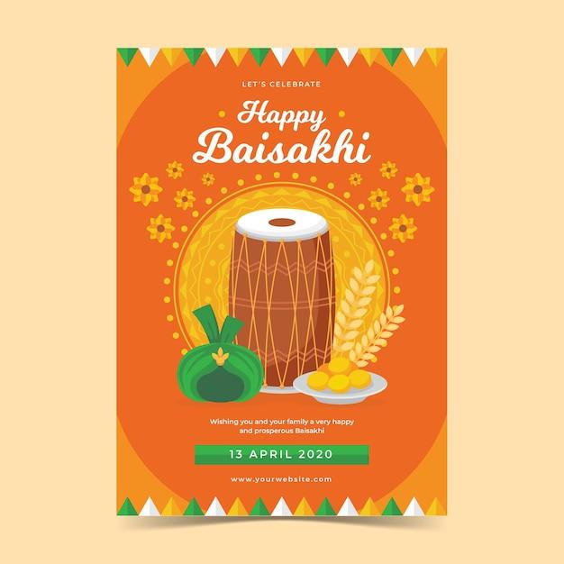 Platte ontwerp gelukkig baisakhi poster Gratis Vector