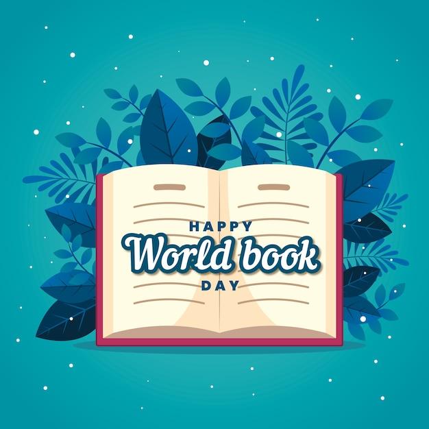 Platte ontwerp gelukkig boek liefhebbers dag en bladeren Gratis Vector