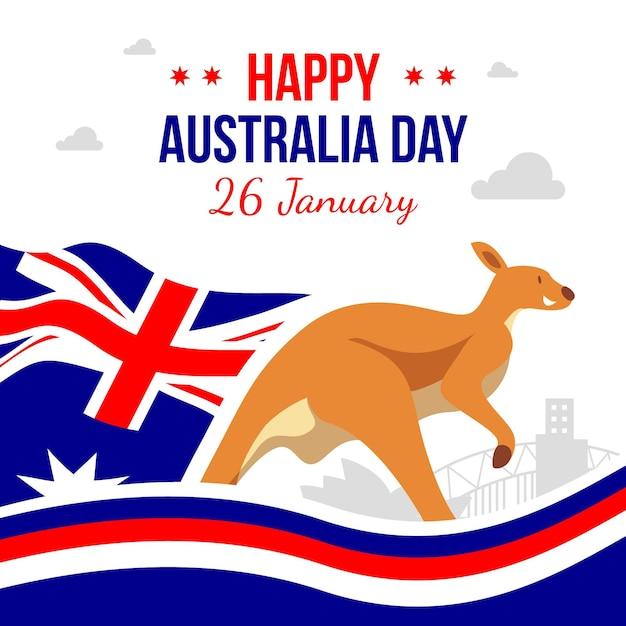 Platte ontwerp gelukkige dag van australië Gratis Vector