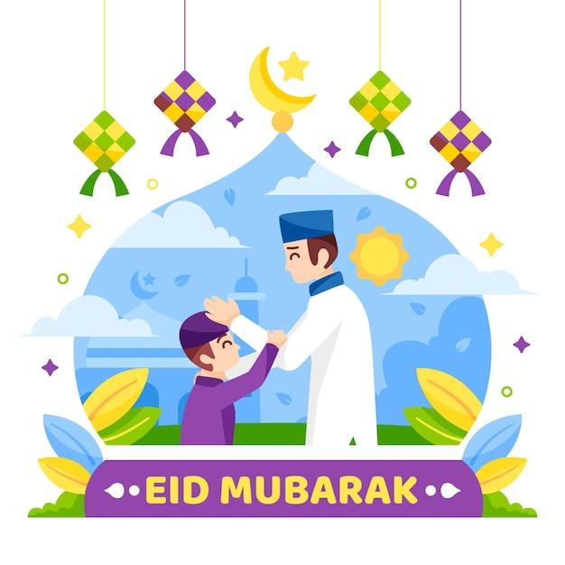 Platte ontwerp gelukkige eid mubarak imam en kind Gratis Vector