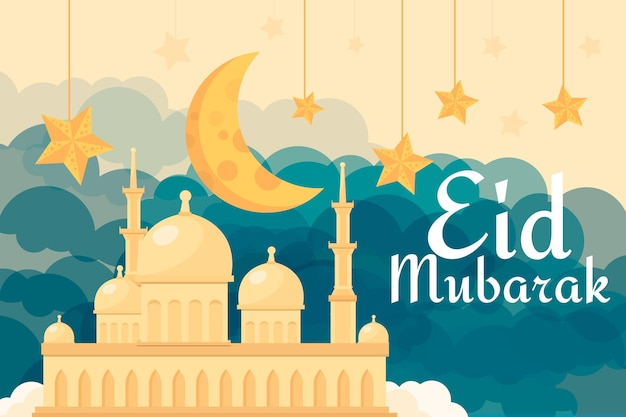 Platte ontwerp gelukkige eid mubarak zandmoskee Gratis Vector