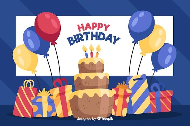 Platte ontwerp gelukkige verjaardag achtergrond Gratis Vector
