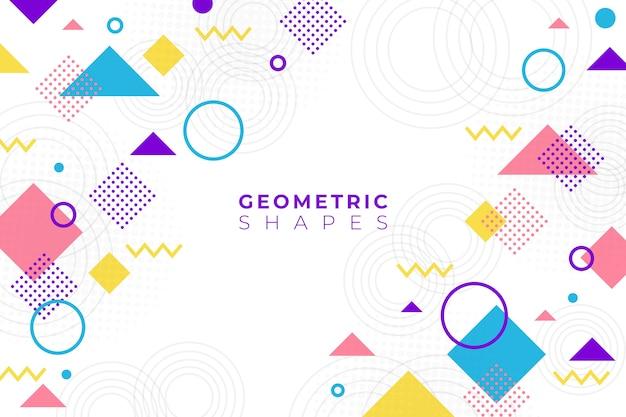 Platte ontwerp geometrische vormen achtergrond in memphis stijl Gratis Vector