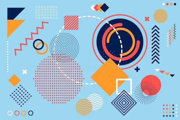 Platte ontwerp geometrische vormen achtergrond Gratis Vector