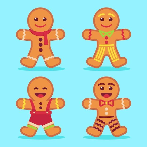 Platte ontwerp gingerbread man cookie-collectie Gratis Vector