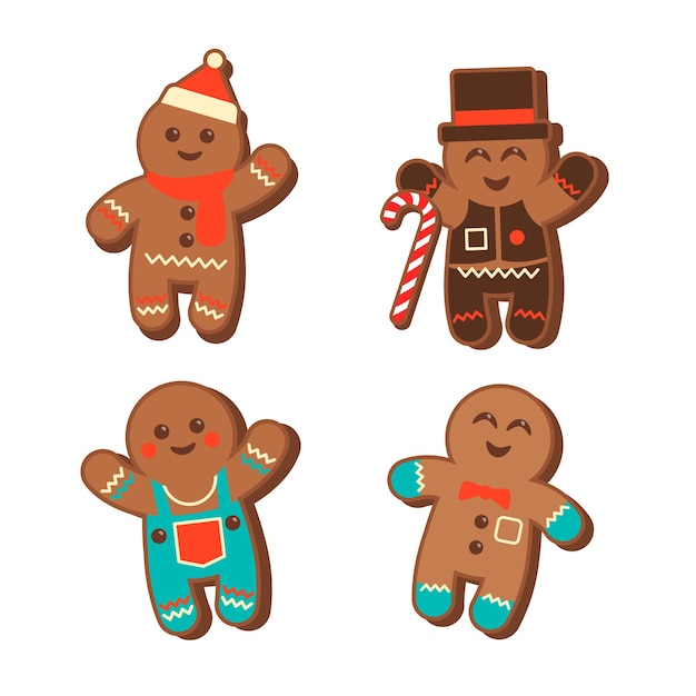 Platte ontwerp gingerbread man cookie-collectie Gratis Vector