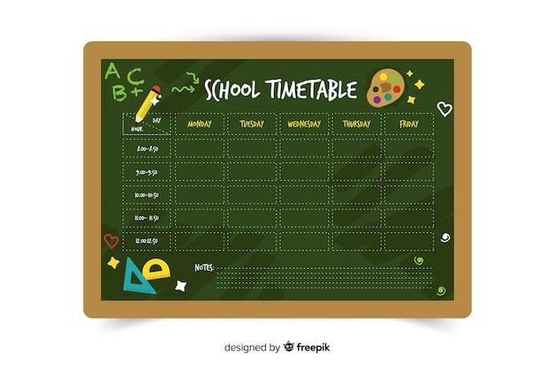 Platte ontwerp groene school tijdschema Gratis Vector