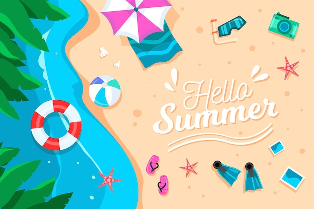Platte ontwerp hallo zomer achtergrond Gratis Vector