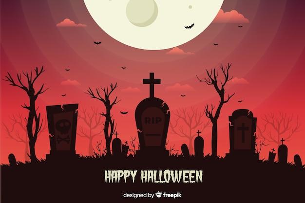 Platte ontwerp halloween achtergrond met begraafplaats Gratis Vector