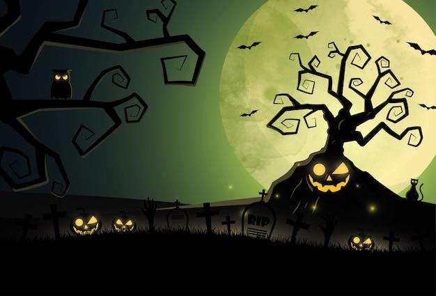 Platte ontwerp halloween-achtergrond met kerkhof en huis. Premium Vector