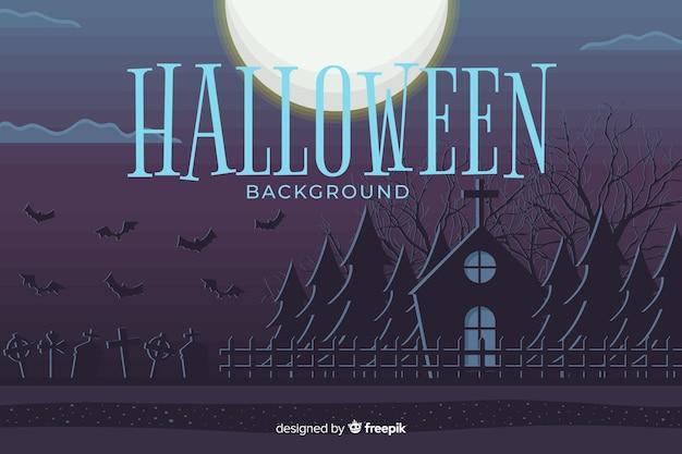 Platte ontwerp halloween achtergrond Gratis Vector