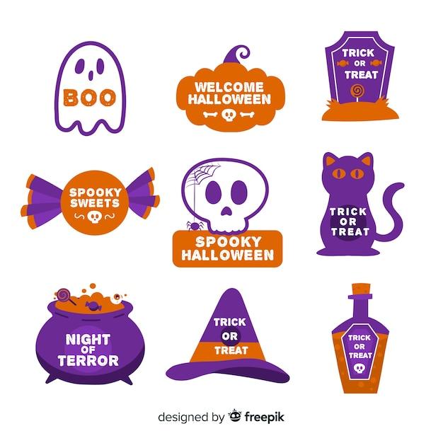 Platte ontwerp halloween badge collectie Gratis Vector