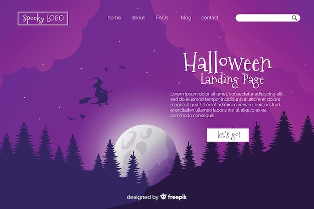 Platte ontwerp halloween-bestemmingspagina Gratis Vector