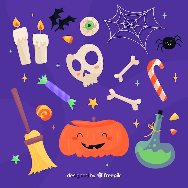 Platte ontwerp halloween element collectie Gratis Vector