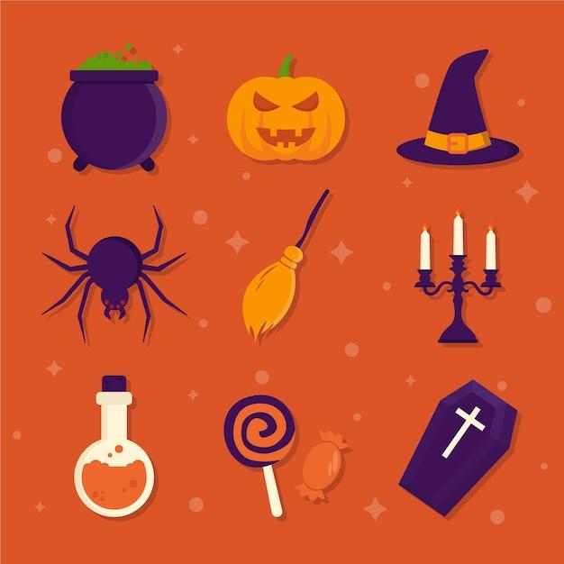 Platte ontwerp halloween element collectie Premium Vector