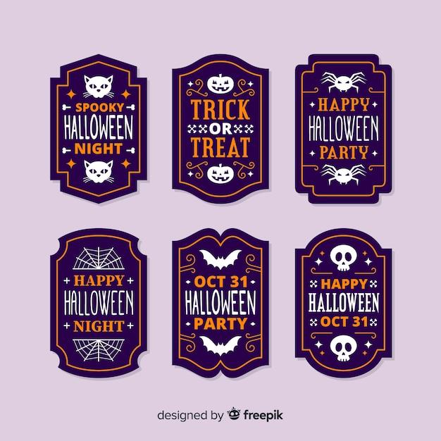 Platte ontwerp halloween label collectie Gratis Vector