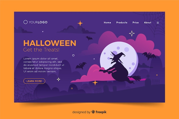 Platte ontwerp halloween landing paginasjabloon Gratis Vector