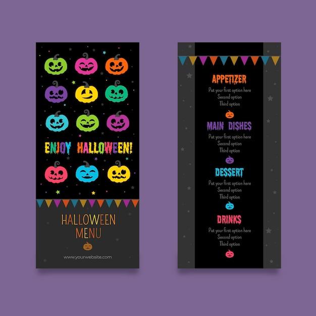 Platte ontwerp halloween menusjabloon Gratis Vector