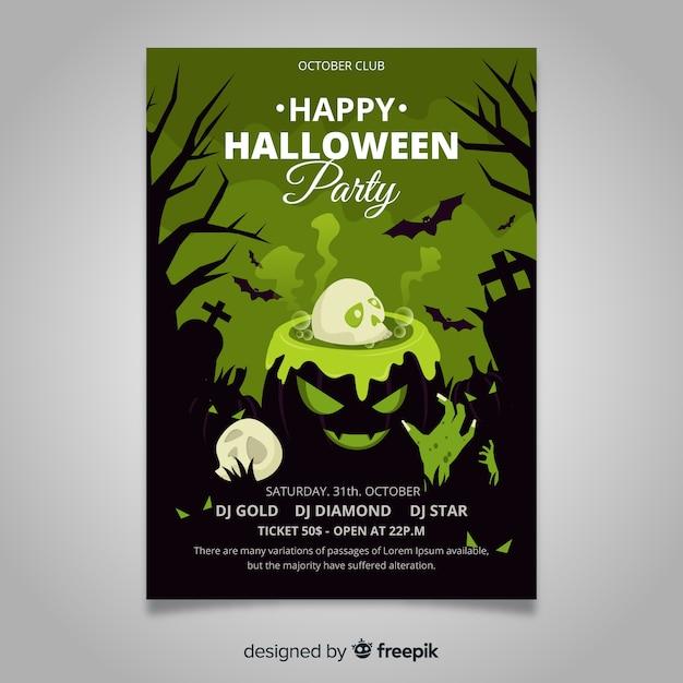 Platte ontwerp halloween partij poster sjabloon Gratis Vector
