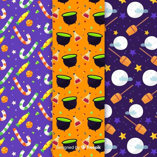 Platte ontwerp halloween patroon collectie Gratis Vector
