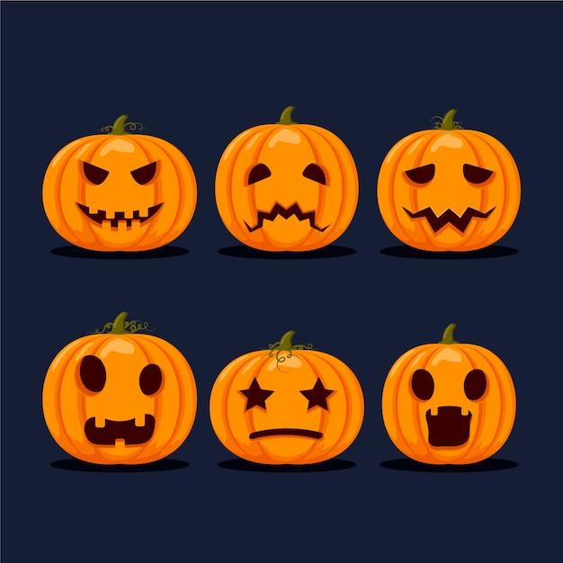 Platte ontwerp halloween pompoen collectie Gratis Vector