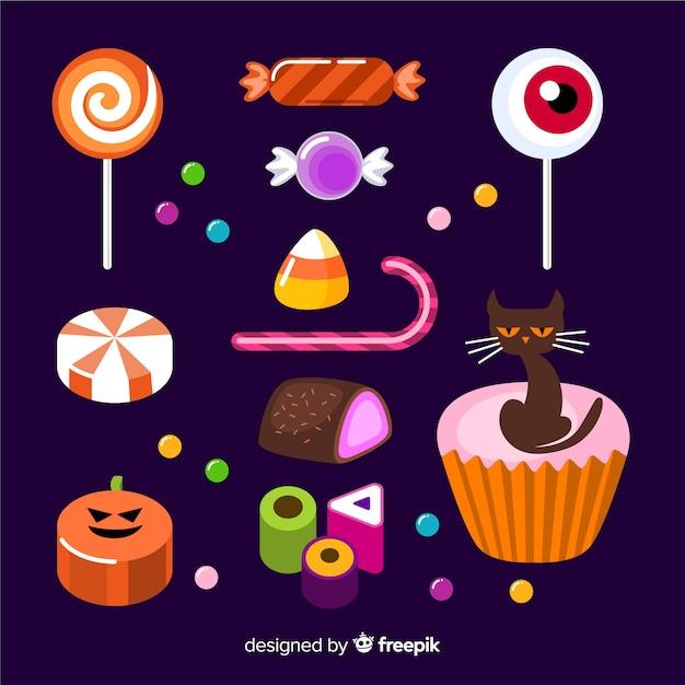 Platte ontwerp halloween snoep collectie Gratis Vector