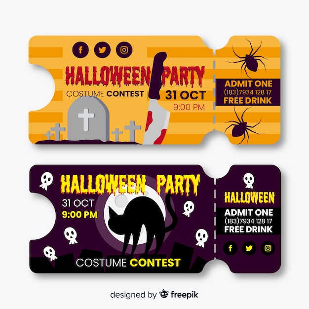Platte ontwerp halloween tickets Gratis Vector
