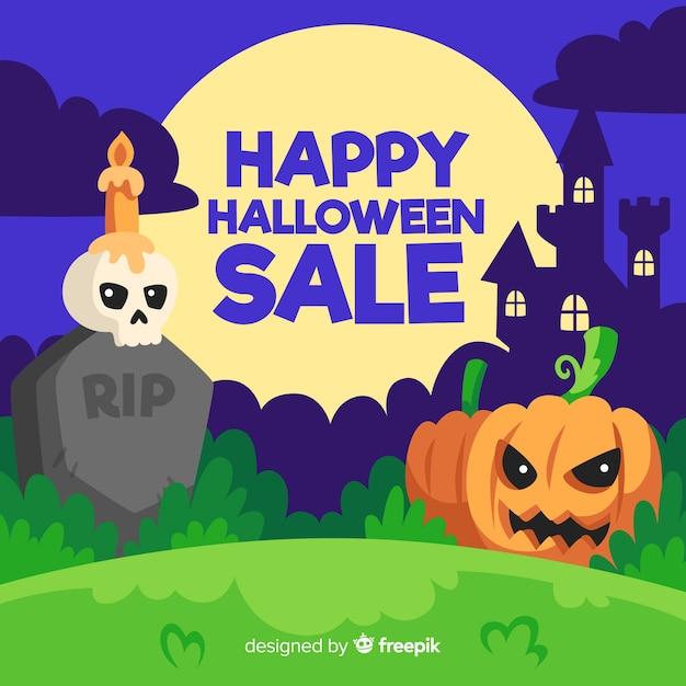 Platte ontwerp halloween verkoop achtergrond Gratis Vector