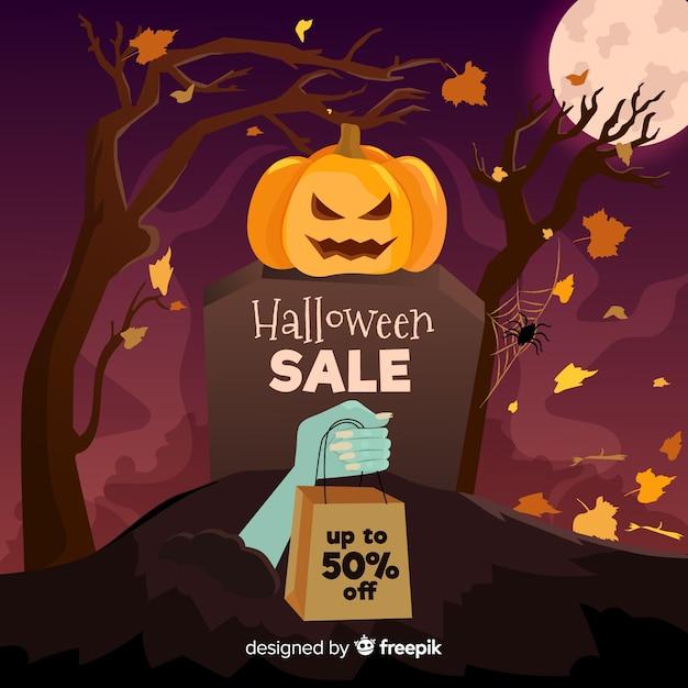 Platte ontwerp halloween verkoop banner Gratis Vector