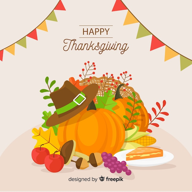 Platte ontwerp happy thanksgiving achtergrond Gratis Vector