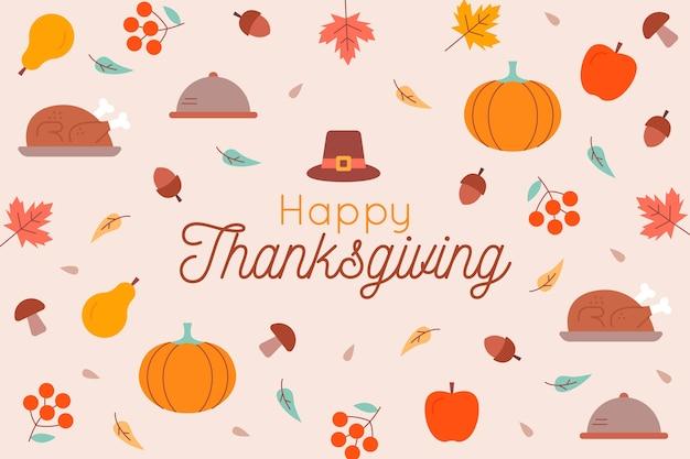 Platte ontwerp happy thanksgiving behang Gratis Vector