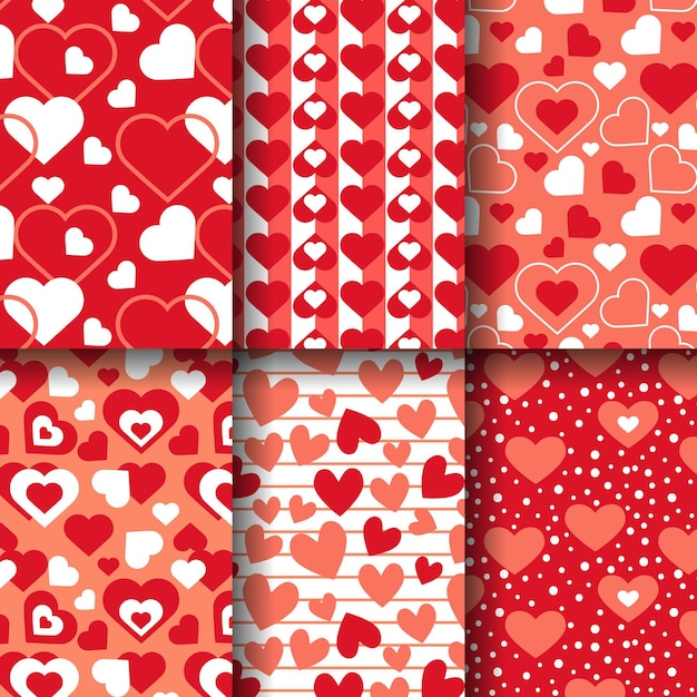 Platte ontwerp hart patroon collectie Gratis Vector