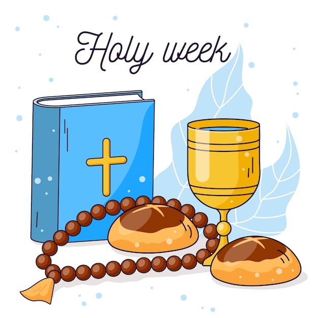 Platte ontwerp heilige week en bijbel Gratis Vector