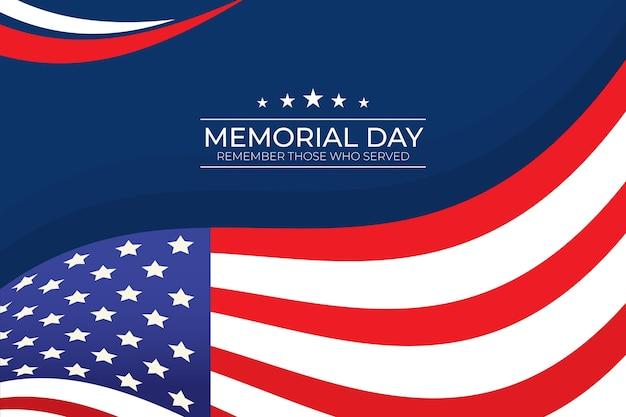 Platte ontwerp herdenkingsdag achtergrond met usa vlag Gratis Vector