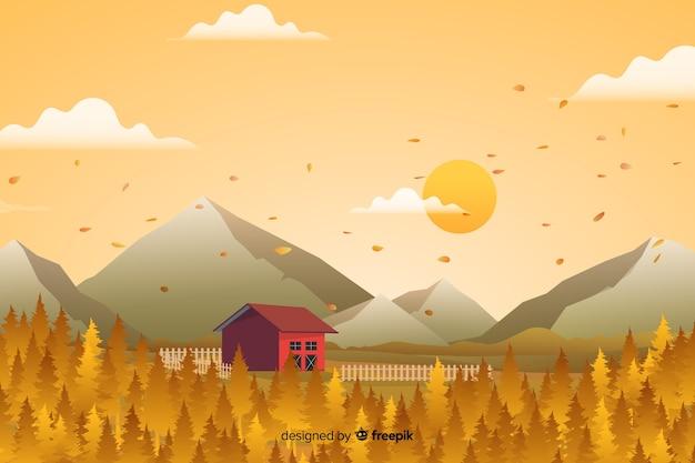 Platte ontwerp herfst achtergrond met bladeren Gratis Vector