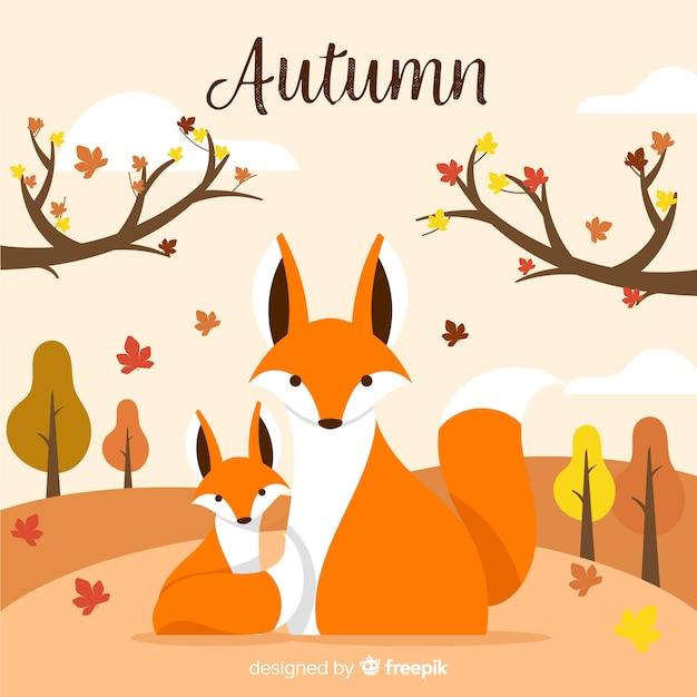 Platte ontwerp herfst achtergrond met dieren Gratis Vector