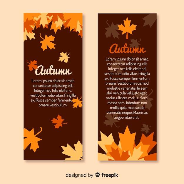 Platte ontwerp herfst banners sjabloon Gratis Vector