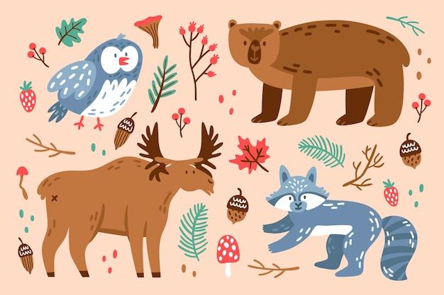 Platte ontwerp herfst bos dieren collectie Gratis Vector