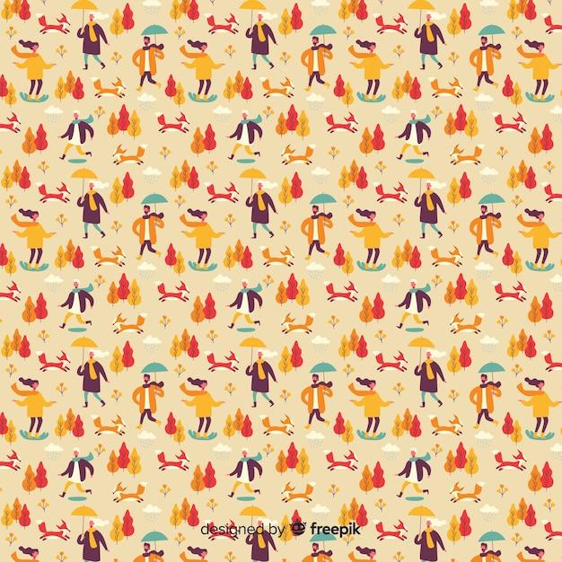 Platte ontwerp herfst patroon collectie Gratis Vector