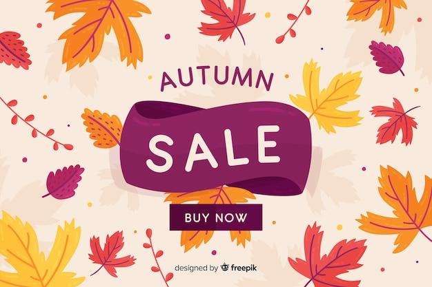 Platte ontwerp herfst verkoop banner Gratis Vector