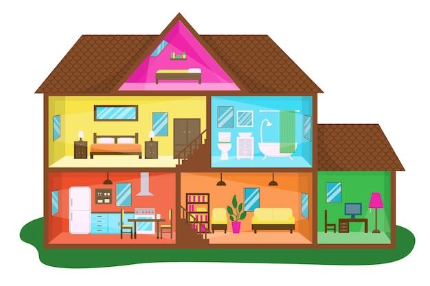 Platte ontwerp huis in doorsnede illustratie Premium Vector
