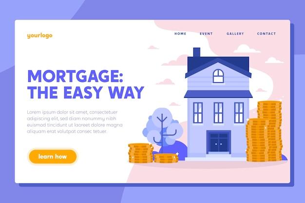 Platte ontwerp hypotheek bestemmingspagina sjabloon Gratis Vector
