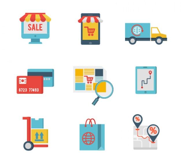 Platte ontwerp iconen van e-commerce en internet winkelen Gratis Vector