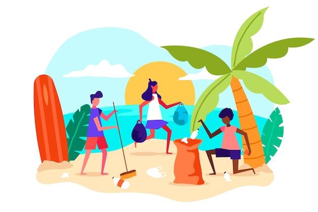 Platte ontwerp illustratie mensen strand schoonmaken Gratis Vector