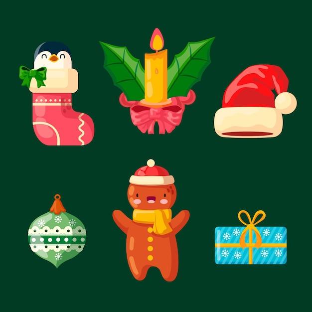 Platte ontwerp illustraties kerst element collectie Gratis Vector