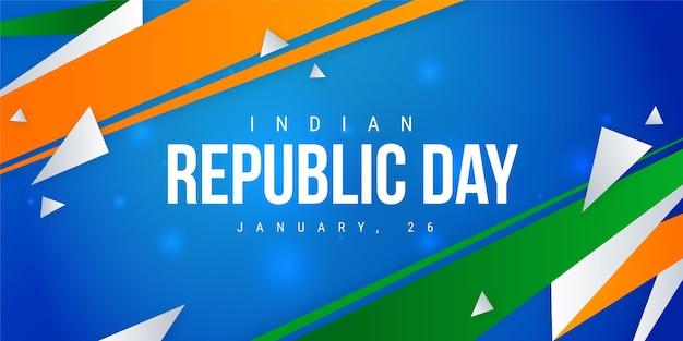 Platte ontwerp indiase republiek dag sjabloon voor spandoek Premium Vector