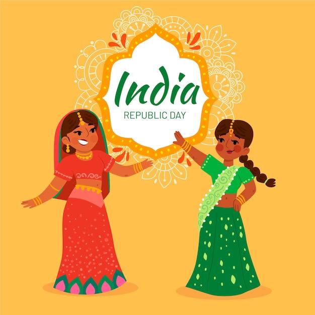 Platte ontwerp indiase republiek dagviering Gratis Vector