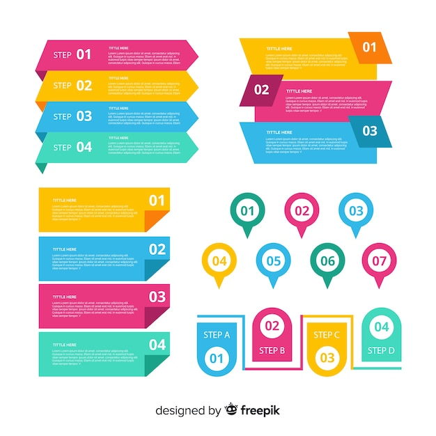 Platte ontwerp infographic element collectie Gratis Vector