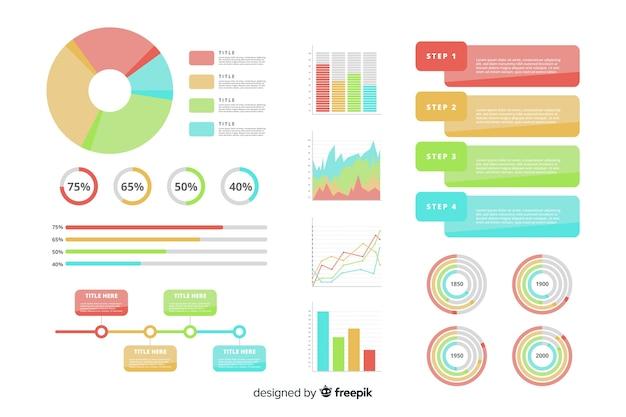 Platte ontwerp infographic element collectie Gratis Vector