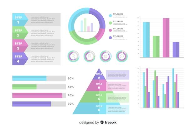 Platte ontwerp infographic element set Gratis Vector
